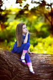 Ragazza che si siede su un albero Immagine Stock