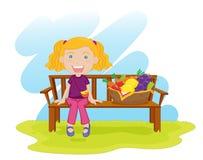 Ragazza che si siede su un bech illustrazione di stock