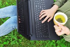 Ragazza che si siede sull'erba con la tazza di tè e del computer portatile Fotografie Stock