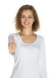 Ragazza che sorride, pollice in su Immagini Stock Libere da Diritti