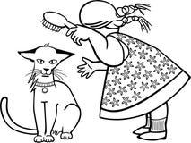 Ragazza che spazzola un gatto Fotografie Stock Libere da Diritti