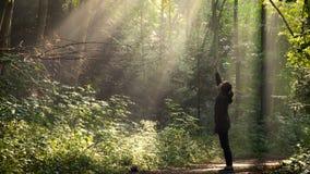 Ragazza che sta alla foresta di mattina dopo la pioggia archivi video