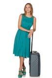 Ragazza che sta con la valigia per il viaggio e sorridere Fotografia Stock