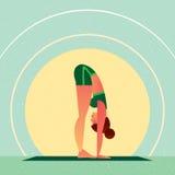 Ragazza che sta nell'yoga che sta posa di andata della curvatura illustrazione di stock