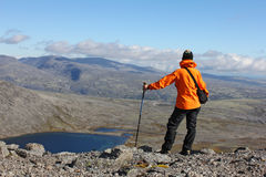 Ragazza che sta sopra una montagna e che considera il lago Immagini Stock