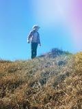 Ragazza che sta sulla cima della collina che esamina la distanza fotografia stock libera da diritti