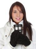 Ragazza che tiene una tazza di caffè immagini stock