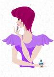 Ragazza civettuola con la pittura luminosa dei capelli le sue labbra Immagini Stock