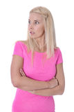 Ragazza colpita isolata in camicia rosa. Fotografia Stock Libera da Diritti
