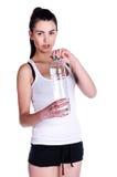 Ragazza con acqua isolata Immagine Stock