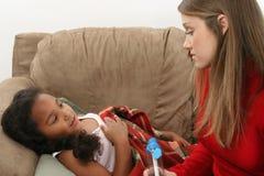 Ragazza con asma Fotografia Stock Libera da Diritti