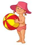 Ragazza con beach ball Fotografie Stock Libere da Diritti