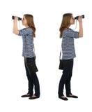 Ragazza con binoculare Fotografia Stock