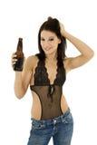 Ragazza con birra Fotografia Stock Libera da Diritti
