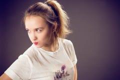 Ragazza con capelli biondi Fotografia Stock