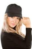 Ragazza con capelli biondi in protezione Fotografie Stock