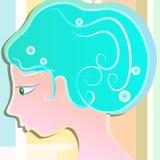 Ragazza con capelli blu-chiaro Fotografia Stock