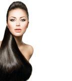 Ragazza con capelli diritti lunghi Fotografia Stock Libera da Diritti
