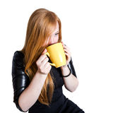 Ragazza con capelli e la tazza rossi di tè Immagini Stock Libere da Diritti