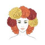 Ragazza con capelli floreali Fotografie Stock