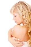 Ragazza con capelli giusti lunghi dalla parte posteriore Fotografia Stock