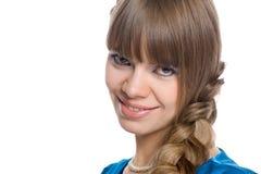 Ragazza con capelli intrecciati in una treccia immagini stock