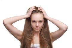 Ragazza con capelli lunghi immagini stock