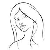 Ragazza con capelli lunghi Fotografie Stock Libere da Diritti