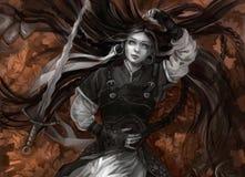 Ragazza con capelli lunghi e pelle grigia con la spada royalty illustrazione gratis