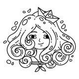 Ragazza con capelli ricci Ragazza del mare Ragazza con capelli blu Barca di carta Oggetti isolati su priorità bassa bianca Illust illustrazione vettoriale