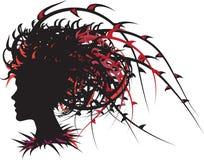 Ragazza con capelli spinosi Fotografia Stock