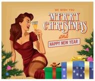 Ragazza con champagne, buon anno, illustrazione di Natale di pin-up di vettore Fotografia Stock