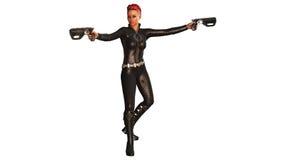 Ragazza con due pistole in costume nero, ragazza del supereroe isolata su bianco Fotografia Stock
