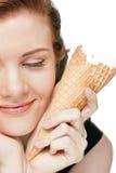 Ragazza con gelato, isolato Fotografia Stock
