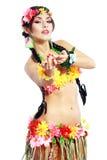 Ragazza con gli accessori hawaiani Fotografia Stock