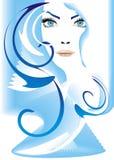 Ragazza con gli occhi azzurri ed i capelli lunghi Fotografia Stock Libera da Diritti