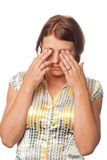 Ragazza con gli occhi faticosi Fotografia Stock