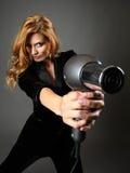 Ragazza con hairdryer Immagine Stock Libera da Diritti