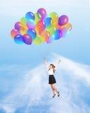 Ragazza con i baloons Fotografia Stock