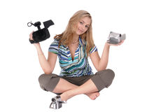 Ragazza con i camcoders Fotografie Stock Libere da Diritti