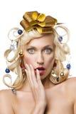 Ragazza con i capelli dell'albero di Natale Fotografie Stock