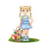 Ragazza con i fiori Illustrazione Vettoriale