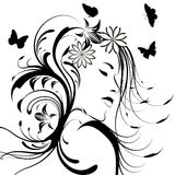 ragazza con i fiori in capelli Fotografie Stock