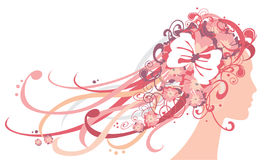 Ragazza con i fiori e gli ornamenti in capelli illustrazione vettoriale