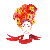Ragazza con i fiori in vostri capelli Fotografia Stock Libera da Diritti