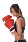 Ragazza con i guanti di inscatolamento rossi Fotografia Stock Libera da Diritti