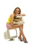 Ragazza con i libri Immagine Stock