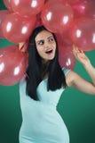 Ragazza con i palloni rossi Fotografia Stock Libera da Diritti