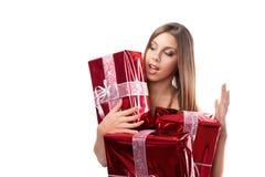 Ragazza con i regali di festa fotografie stock