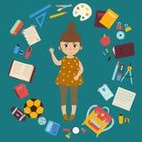 Ragazza con i rifornimenti per gli studi Di nuovo al banco royalty illustrazione gratis